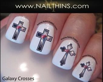 Nail designs etsy galaxy nail decal cross star system nails nailthins nail design prinsesfo Images