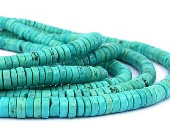 """15"""" 4mm 6mm 8mm Magnesite tire heishi wheel rondelle beads gemstone - blue - full strand - PICK Size"""