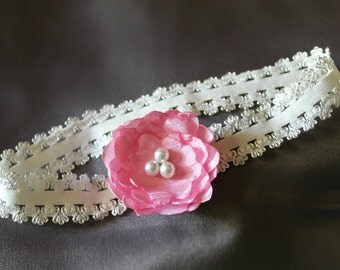 Baby flower headband- Single pink lotus flower