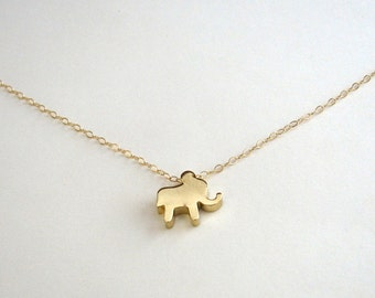 Elephant Necklace, Gold Elephant Necklace, Fun Gold Necklace, Animal Necklace, Baby Elephant Necklace, Silhouette - 14K Gold Filled Chain