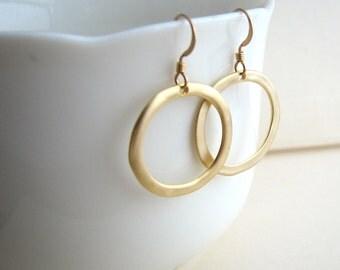 Simple Gold Hoop Earrings, Gold Circle Earrings, Gold Dangle Earrings, Gold or Silver - 14K Gold Fill or Sterling Silver Ear Wires