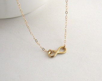 Dainty Infinity Necklace, Gold Infinity Necklace, Matte Gold Infinity Necklace - 14K Gold Fill Chain