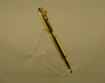 308 Cal. Rifle Cartridge Bullet Pen with a Deer Head Clip - Handcrafted