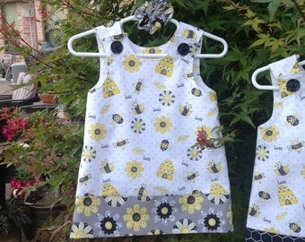Bee Happy Dress (infant, baby, girl, toddler,child) Jumper, Sundress, with matching hair accessory.