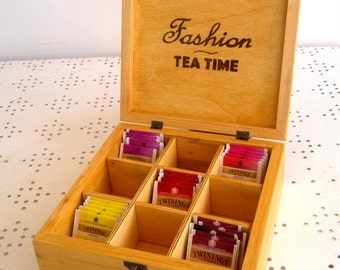 FASHION TEA TIME-door wooden tea Box 9 compartments-for lovers of fashion fashion