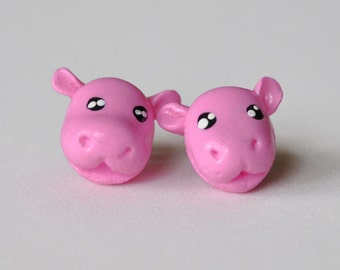 Cute Polymer Clay Hippo Earrings