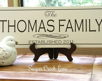 Family name sign, Family Established Sign, Wood sign with established date, personalized wedding gift, anniversary gift, housewarming gift