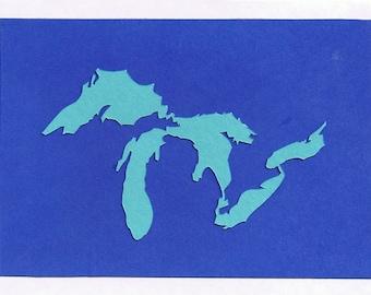 Papercut Great Lakes Greeting Card (blue)