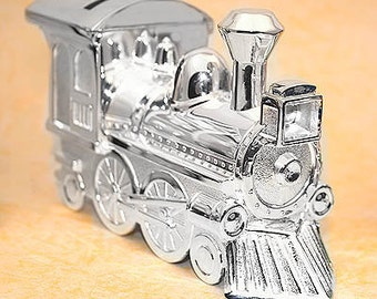 Silver Plated Train Piggy Bank - Personalized Train Bank