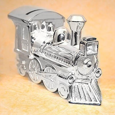 Silver plated train piggy bank personalized train bank - Engraved silver piggy bank ...