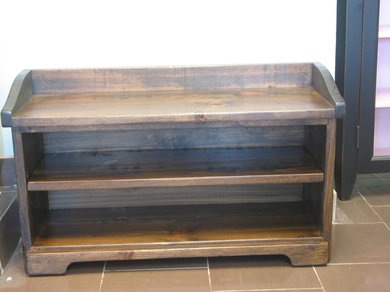 dark walnut finition chaussure stockage bois banc de. Black Bedroom Furniture Sets. Home Design Ideas