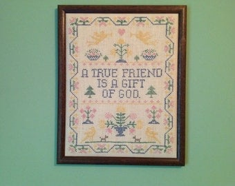 True friend Framed Cross Stitch Sampler