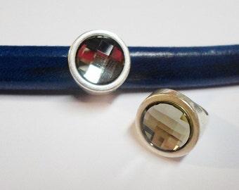 SALE: Half Round Swarovski Black Diamond Crystal Slider, Antique Silver Finding