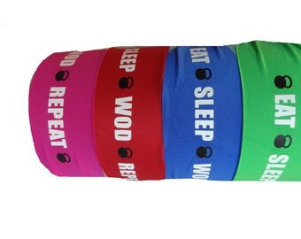 "4"" wide running/cross training headband  Eat Sleep Wod Repeat also available 3"" wide"