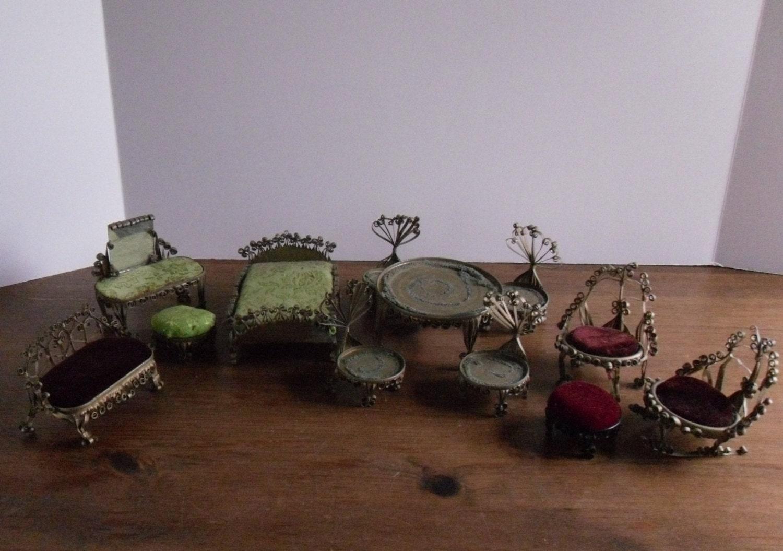 Vintage Tin Can Doll Furniture Soda Beer Tramp Folk Art 12 Pc