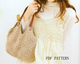 download PDF crochet popcorn  tote  bag pattern
