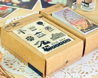 Landscape Rubber Stamps and Deco Stickers Set - Wooden Rubber Stamp Set - Dairy Stamp Set - Ferris wheel