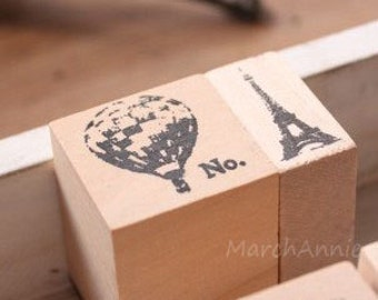 Eiffel Tower Stamp - Vintage Wooden Rubber Stamp Set - Rubber Stamp - Deco Stamp - 2pcs in