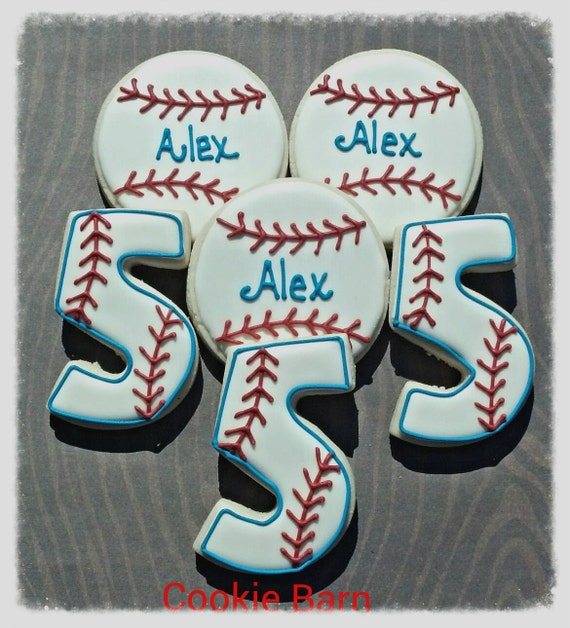 Baseball Sport Birthday Custom Decorated Cookies