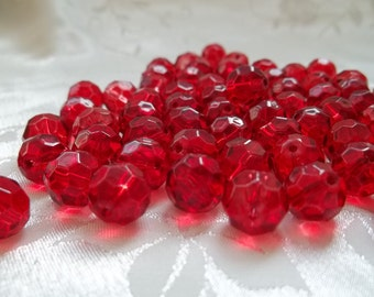 20 Bright Ruby Scarlet Red  Czech Glass 10mm Round Faceted Crystal Beads #468