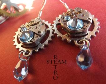 10% off sale17 Vintage watch movement Aquamarine Swarovski Steampunk Earrings - Steampunk Jewelery- personalized jewelry