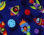 Timeless Treasures Stoff  tossed  Ufo Aliens Ufos schwarz blau orange Universum 0,5 m USA Designerstoff reine Baumwolle ausserirdische