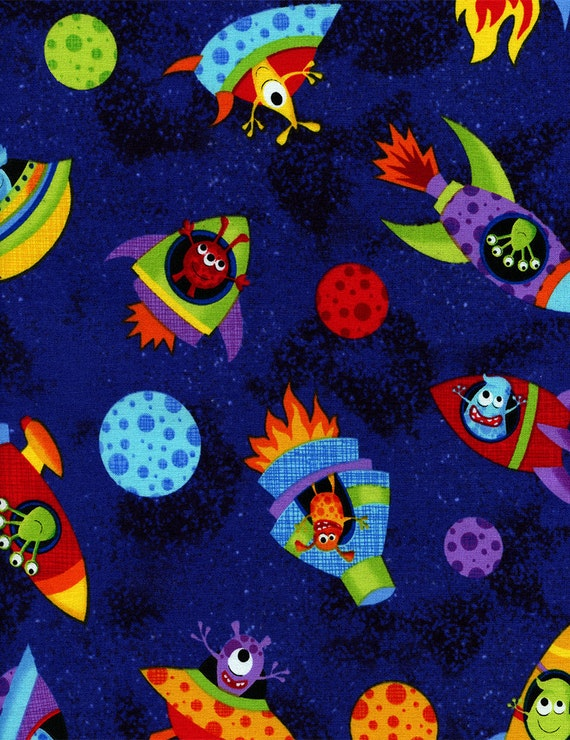 Timeless treasures tossed ufo aliens fabric multi ufos stars for Alien fabric