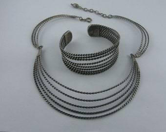 Age old jewelry SET of silver (Ag 800): Collier and bangle / bracelet. VINTAGE