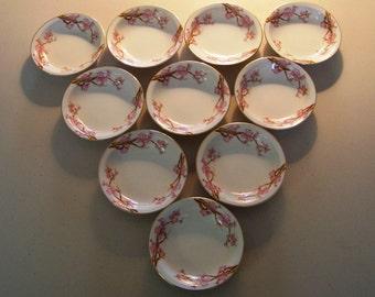 Asahi China Cherry Pattern Set Of Ten Fruit Bowls