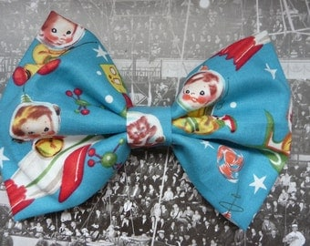 Retro Rocket Rascals Michael Miller hair bow headband