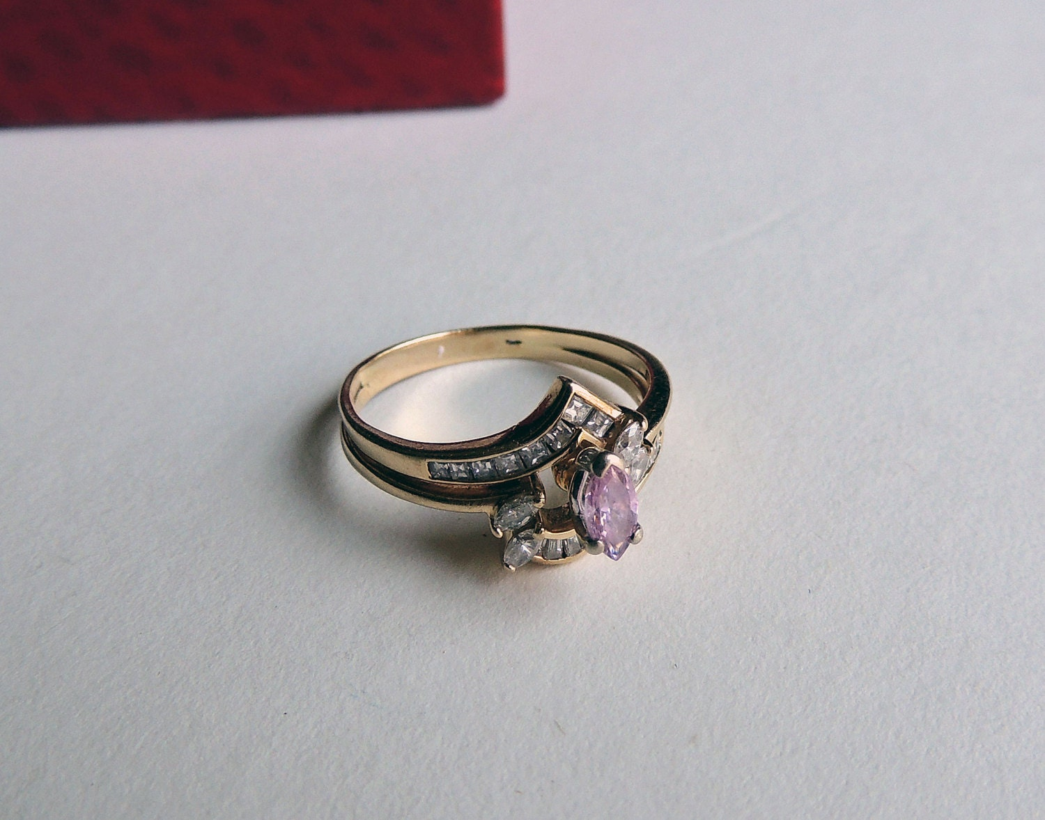 items similar to vintage pink engagement ring on etsy