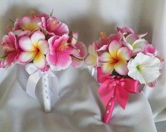 Frangipani Plumeria and Hibiscus Bouquet Hot Pink  Destination  Beach Wedding