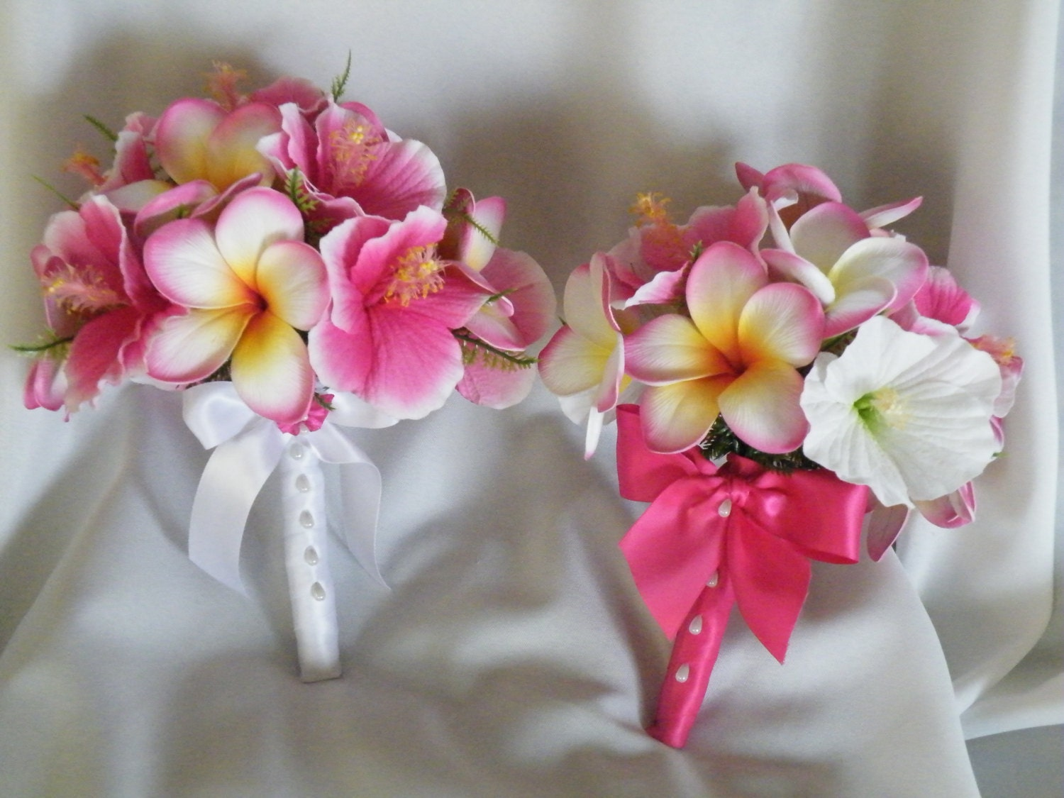 Frangipani Plumeria Hibiscus Bouquet Hot Pink By Abloomortwo