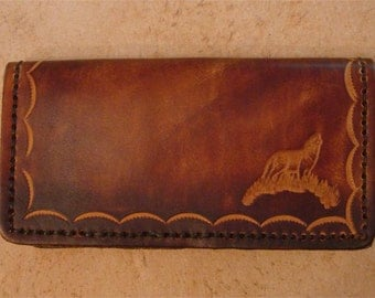 Tooled Brown Leather Checkbook Cover - Wolf
