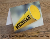University of Michigan Cheerleading Megaphone Note Cards - Set of 4 - FREE SHIPPING contiguous 48 states