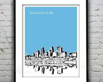 Minneapolis Minnesota MN Poster Art Skyline Print Version 3
