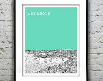 Sarasota Bay Skyline Poster Art Print Florida FL