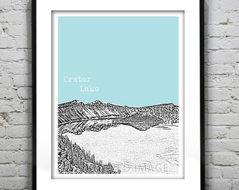 1 Day Only Sale 10% Off - Crater Lake Oregon Poster Print Art Skyline  National Park