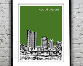 Grand Rapids Michigan Skyline Poster City Art Print