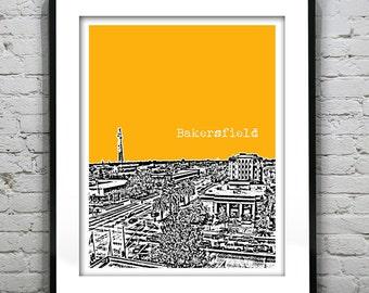 Bakersfield California Poster Art Skyline Print