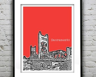 1 Day Only Sale 10% Off - Sacramento California Poster Art Skyline Print Version 2