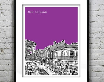 New Orleans Poster Art Skyline Nola Bourbon Street French Quarter Louisiana Print Version 3