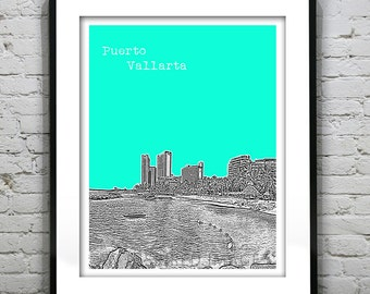 1 Day Only Sale 10% Off - Puerto Vallarta Mexico Poster Art Skyline Print