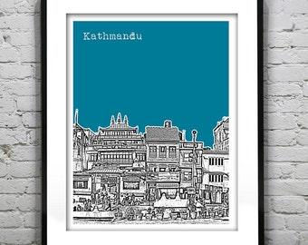 Kathmandu Nepal Poster Art Print Skyline Buildings around Boudha Stupa Version 1