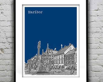 Maribor Slovenia Poster Print Art City Skyline Europe