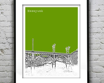 Manayunk Bridge Philadelphia PA Poster Print Art Skyline
