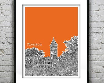 Clemson South Carolina Skyline Poster Art Print SC