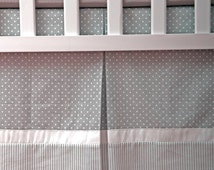 Custom Crib Skirt - Dust Ruffle with Gray and White polka dot and Stripes cotton & white ribbons / Box Pleat skirt / Adjustable or gathered