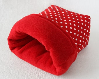 "cuddle bag / cosy sleeping bag ""red with white dots"" for guinea pigs"