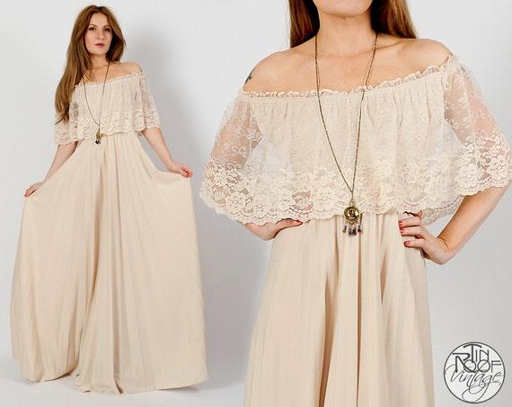 Vintage 70s LACE Cream Off Shoulder Maxi Dress XS S Wedding